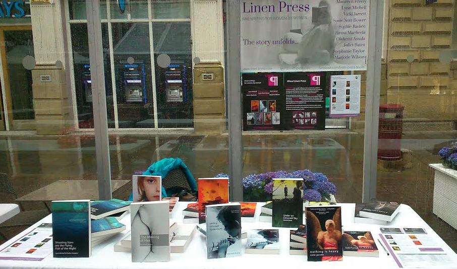 The Linen Press stall at a rainy Manchester Book Market
